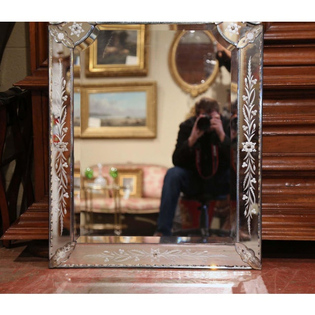 Early 20th Century Italian Overlay Venetian Mirror With Painted Floral Etching For Sale In Dallas - Image 6 of 8