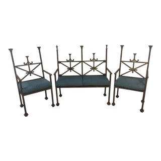 Mid 19th Century Antique Iron Outdoor Settee and Chairs - Set of 3 For Sale