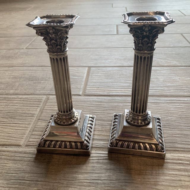 English Antique Silverplate Corinthian Column Candlesticks- a Pair For Sale - Image 3 of 9