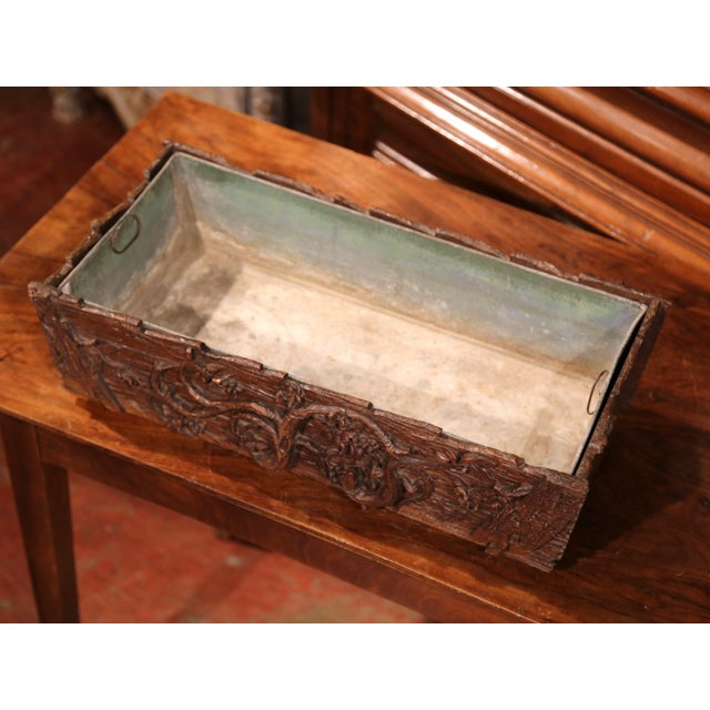 Black Forest 19th Century French Black Forest Carved Walnut Jardiniere With Zinc Liner For Sale - Image 3 of 9