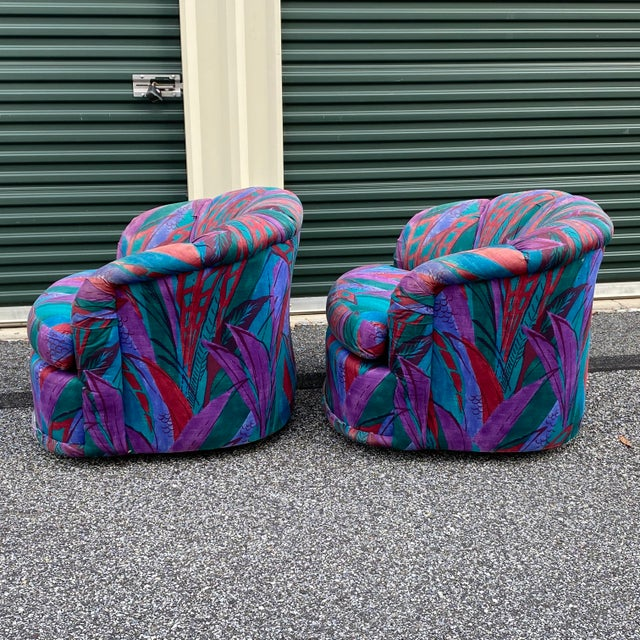 1980s 1980s Modern Swivel Chairs by American of Martinsville - a Pair For Sale - Image 5 of 13