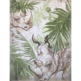 "Hand Painted French Panel ""Rhino """