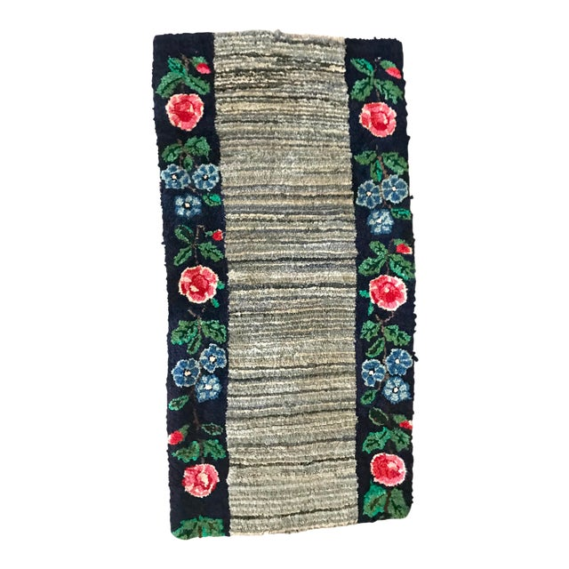 Early 20th Century Antique Hooked Rug - 4′3″ × 1′10″ For Sale