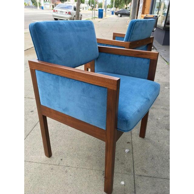 Robert John Walnut Arm Chairs in Blue Velvet For Sale - Image 9 of 11