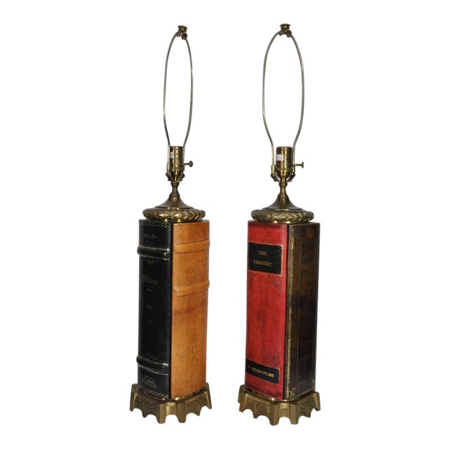 Vintage English Style Brass and Tooled Leather Bound Book Form Table Lamps - a Pair For Sale