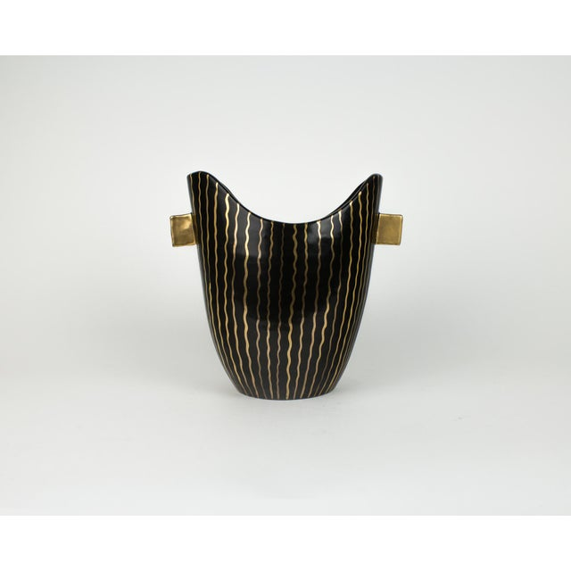 Mid Century Italian Striped Black and Gold Vase For Sale - Image 13 of 13