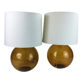 Contemporary Crate and Barrel Glass Table Lamps - a Pair For Sale