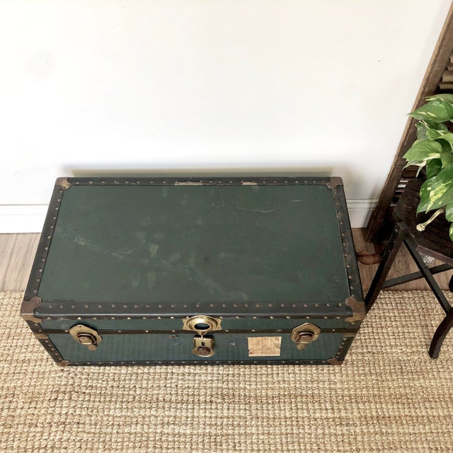 1940s Traditional Green Steamer Trunk Coffee Table For Sale - Image 9 of 13