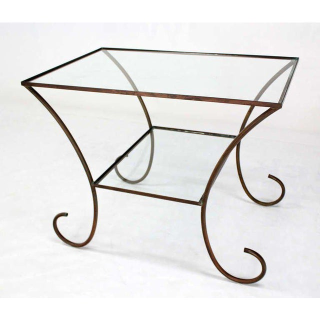 Mid-Century Modern Deco Style Solid Brass Serving Console Hall Table circa 1930s For Sale - Image 3 of 7