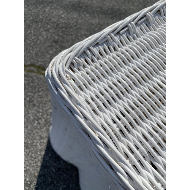 """White Natural Rattan Console Table 79"""" Long in White For Sale - Image 8 of 10"""
