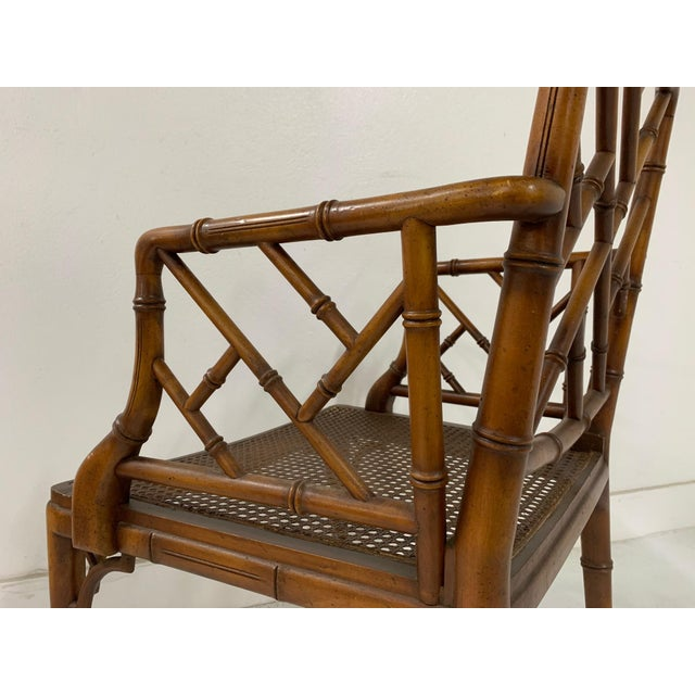 1960s Chinese Chippendale Style Faux Bamboo Arm Chair For Sale - Image 5 of 9