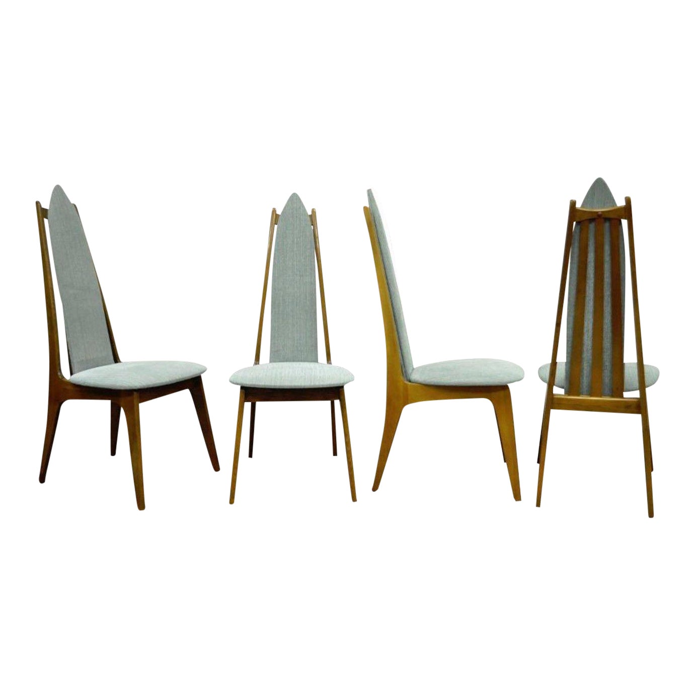 Set Of 4 Vintage Mid Century Modern Sculptural Walnut Dining Chairs