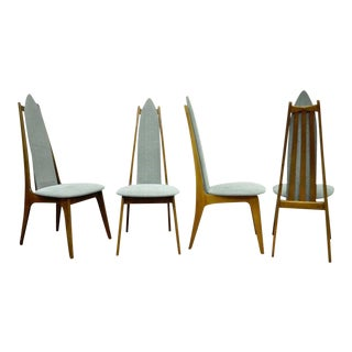 Set of 4 Vintage Mid Century Modern Sculptural Walnut Dining Chairs Danish Style For Sale