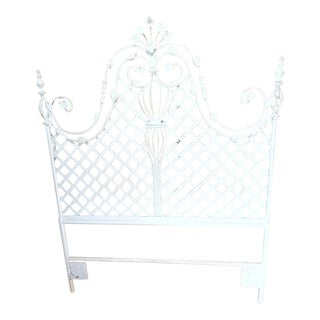 1980s Shabby Chic White Iron Bed Headboard For Sale