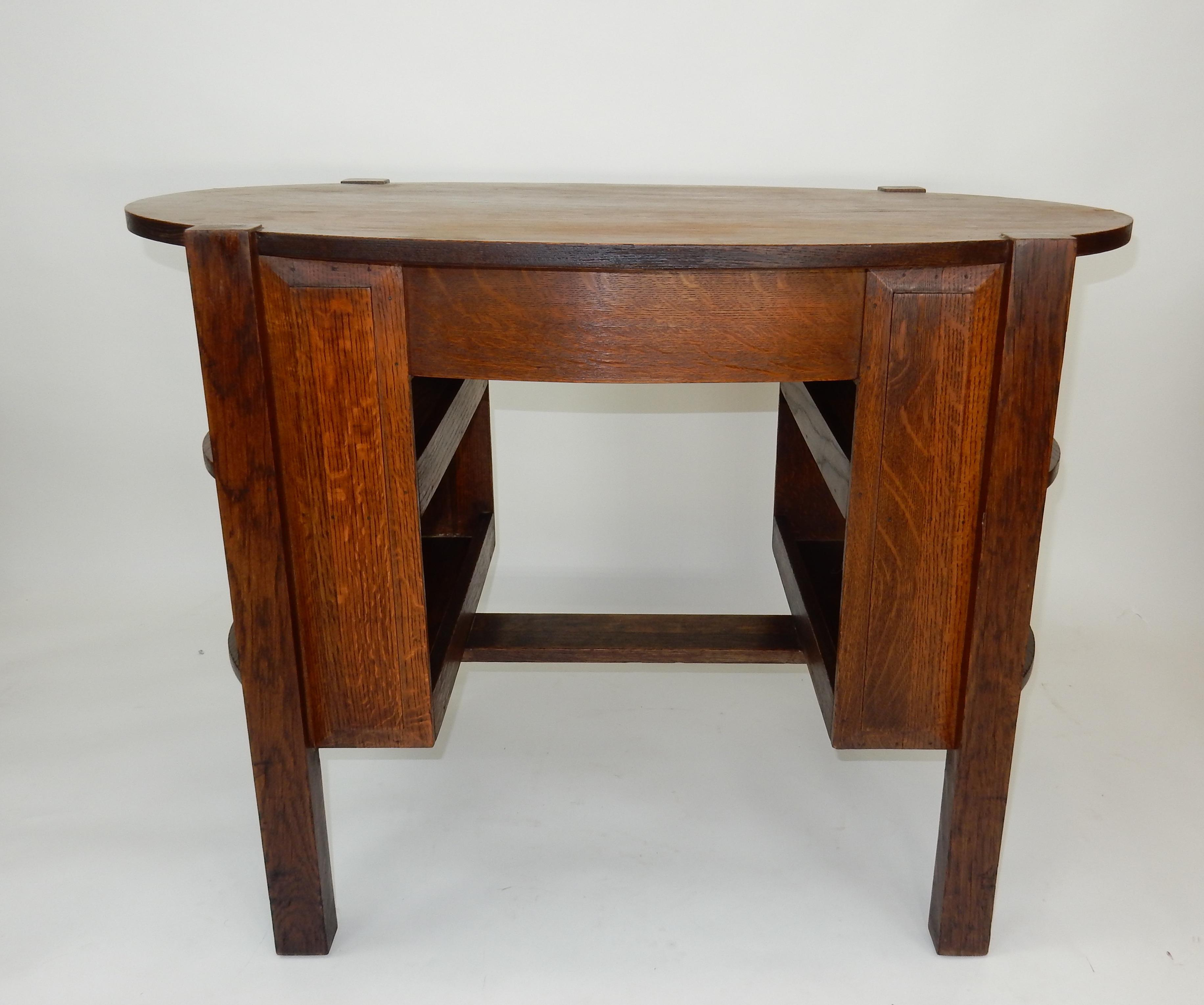 For Your Consideration; Gorgeous 19th Century Antique Limbert Style Oval Oak  Library Table With Side