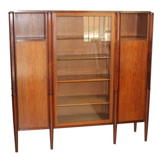 Stunning French Art Deco Solid Mahogany Three Door Bookcase or Vitrine Circa 1940s For Sale