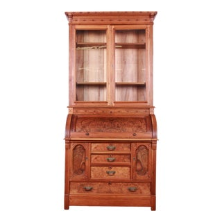 19th Century Eastlake Victorian Carved Walnut and Burl Wood Cylinder Desk With Glass Front Bookcase For Sale