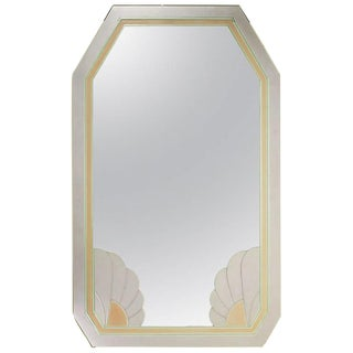 Art Deco Revival Lavender and Rose Etched Glass Mirror For Sale