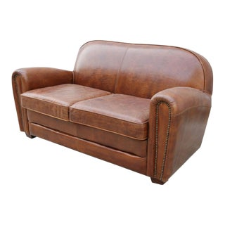 Paris Club Brown Leather Love Seat Sofa For Sale