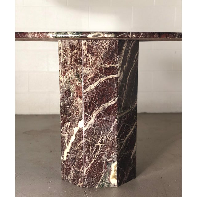 Italian Round Travertine Stone Dining or Center Table For Sale - Image 4 of 6