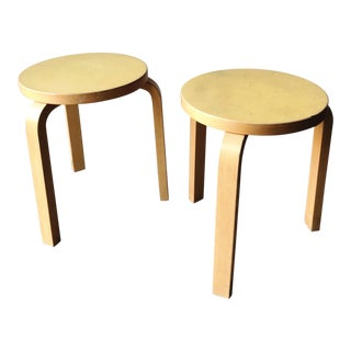 Genuine Alvar Aalto Stacking Stool 60 Natural Wood - a Pair For Sale
