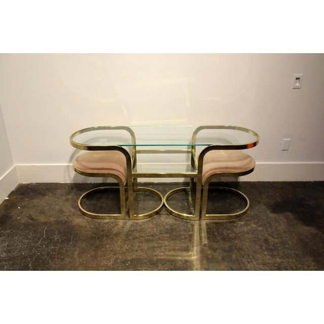 Mid-Century Modern Brass Console Cafe Table With Pink Chairs by Dia Design Institute of America For Sale - Image 3 of 8