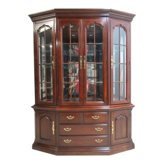 Thomasville Cherry Chippendale Breakfront Hutch