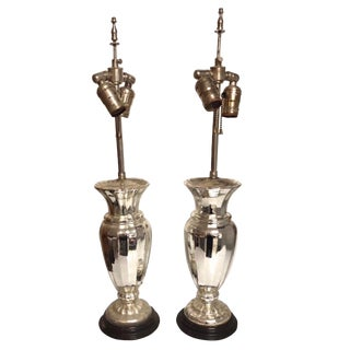 Pair of 19th Century Mercury Glass Lamps - a Pair For Sale