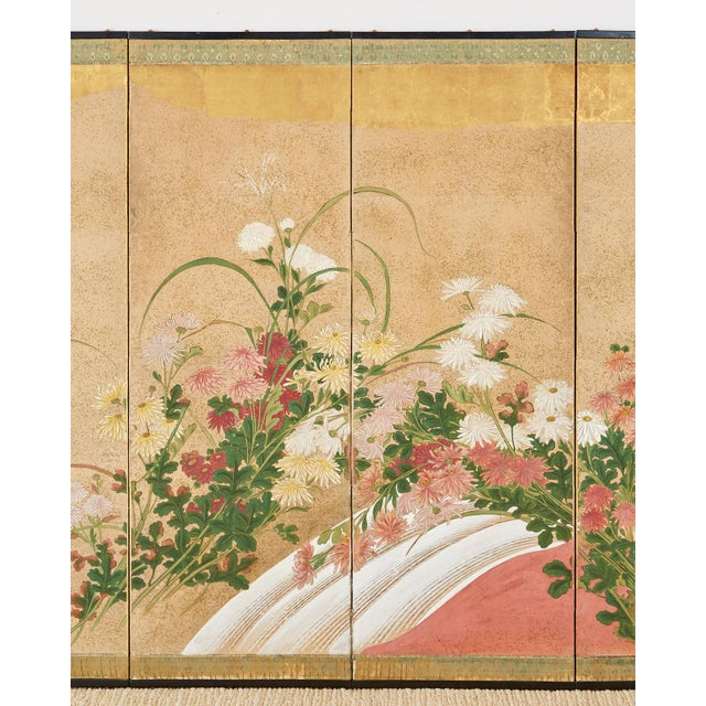 Japanese Six Panel Meiji Screen Chrysanthemums and Waterfall For Sale - Image 4 of 13