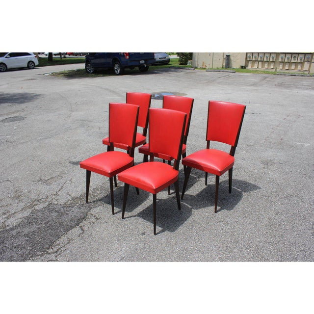 1940s Vintage French Art Deco Solid Mahogany Dining Chairs- Set of 5 For Sale - Image 4 of 13