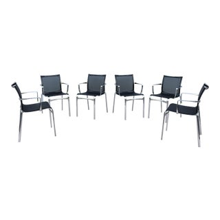 Modern Italian Alberto Meda for Alias Bigframe Mesh Dining Armchairs - Set of 6 For Sale