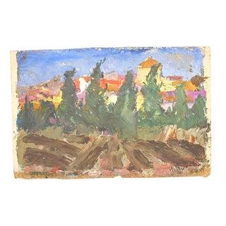 "Original Vintage Expressionist Oil On Canvas By H. Roberts-Signed-Landscape-""Avignon"""