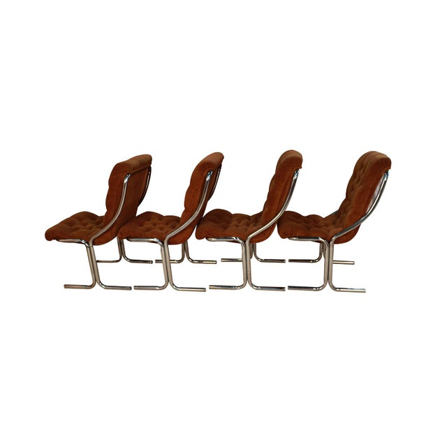 Mid-Century Modern Daystrom Mid Century Chrome High Back Dining Velour Chairs For Sale - Image 3 of 11
