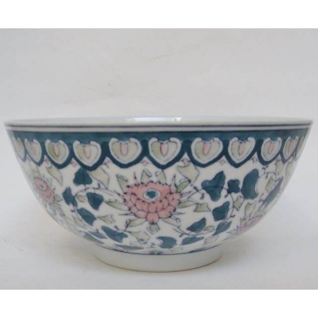 Chinese Green & Pink Floral Porcelain Serving Bowl - Image 6 of 7
