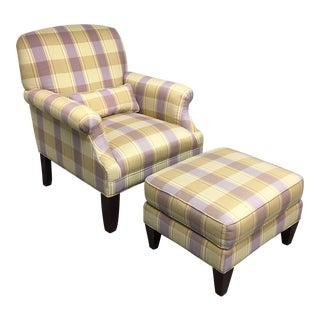 Ethan Allen Upholstered Chair & Ottoman