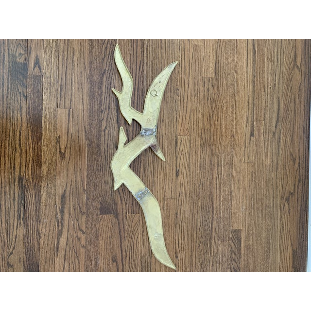 Large Mid Century Brass Seagulls Wall Sculpture For Sale - Image 4 of 7
