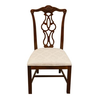 Late 20th Century Vintage Stanley Furniture Solid Cherry Chippendale Style Dining Side Chair For Sale