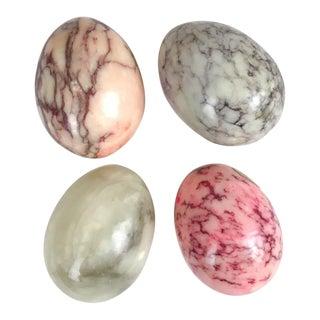 1960s Mid Century Italian Alabaster Eggs - Set of 4
