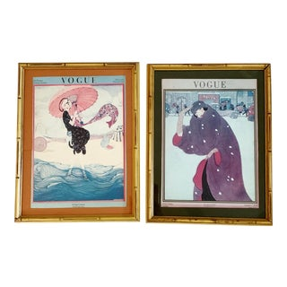 Vintage Vogue Covers by Helen Dryden Diptych Summer 1919 Winter 1920 Fashion Condé Nast Publisher Art Nouveau - Set of 2 For Sale