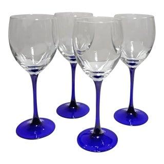 Vintage Luminarc France Neptune Blue Stemmed Water/Wine Goblets - Set of 4 For Sale