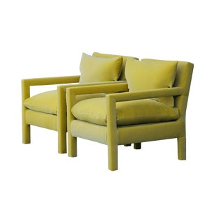 1970s Contemporary Milo Baughman Reupholstered Yellow Velvet Parsons Chairs - a Pair For Sale