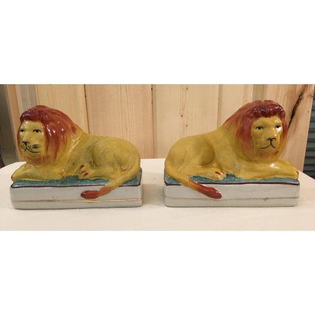 Primitive Ceramic Lion Bookends - A Pair For Sale - Image 3 of 11
