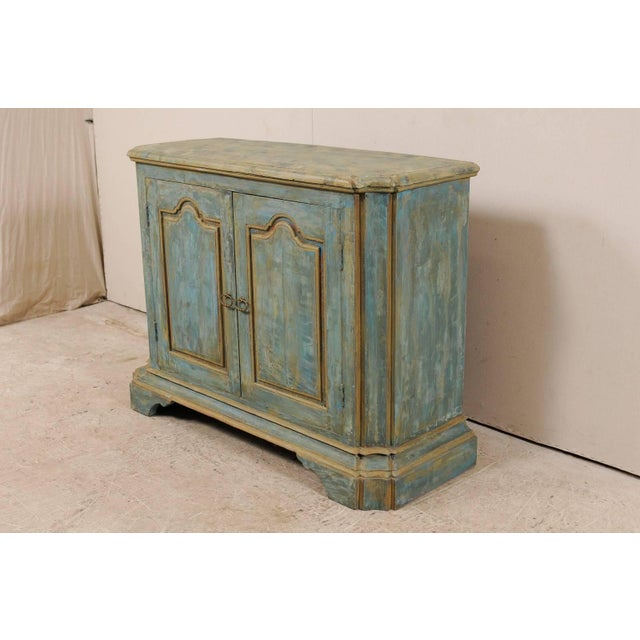 Custom Vintage Italian Style Two-Door Painted Wood American Buffet Console For Sale - Image 4 of 10