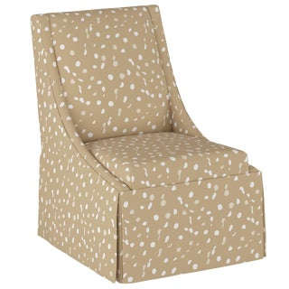 Skirted Accent Chair in Camel Dot by Angela Chrusciaki Blehm for Chairish For Sale