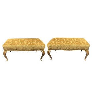 French Deco Gilt-Wood Palm Leaf Leg Benches by Randy Esada Designs for Prospr - a Pair For Sale