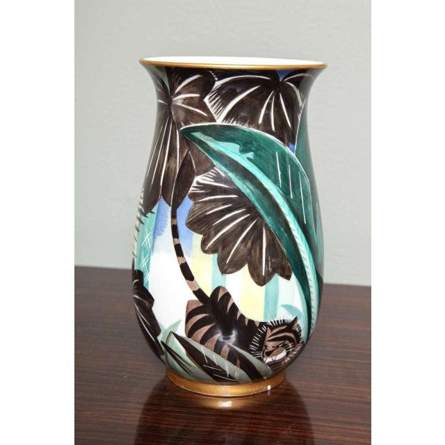Teal Art Deco Porcelain Vase by Robert Bonfils For Sale - Image 8 of 8