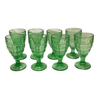 Hazel-Atlas Optic Block Green Goblets - Set of 8
