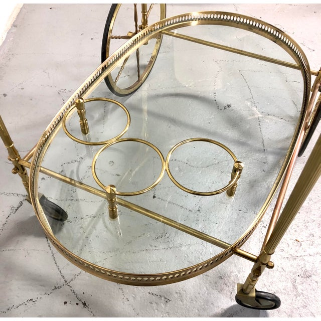 Vintage Maison Jansen Style Brass Bar Cart / Trolley For Sale - Image 9 of 13