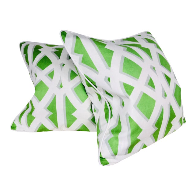 Modern Cotton Geometric Pillows – a Pair For Sale