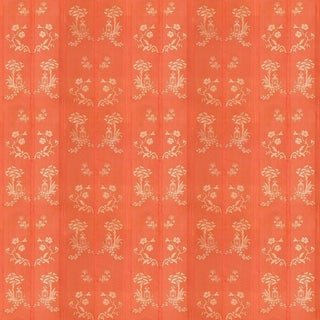 Sample, Suzanne Tucker Home Pagoda Silk Fabric in Coral For Sale
